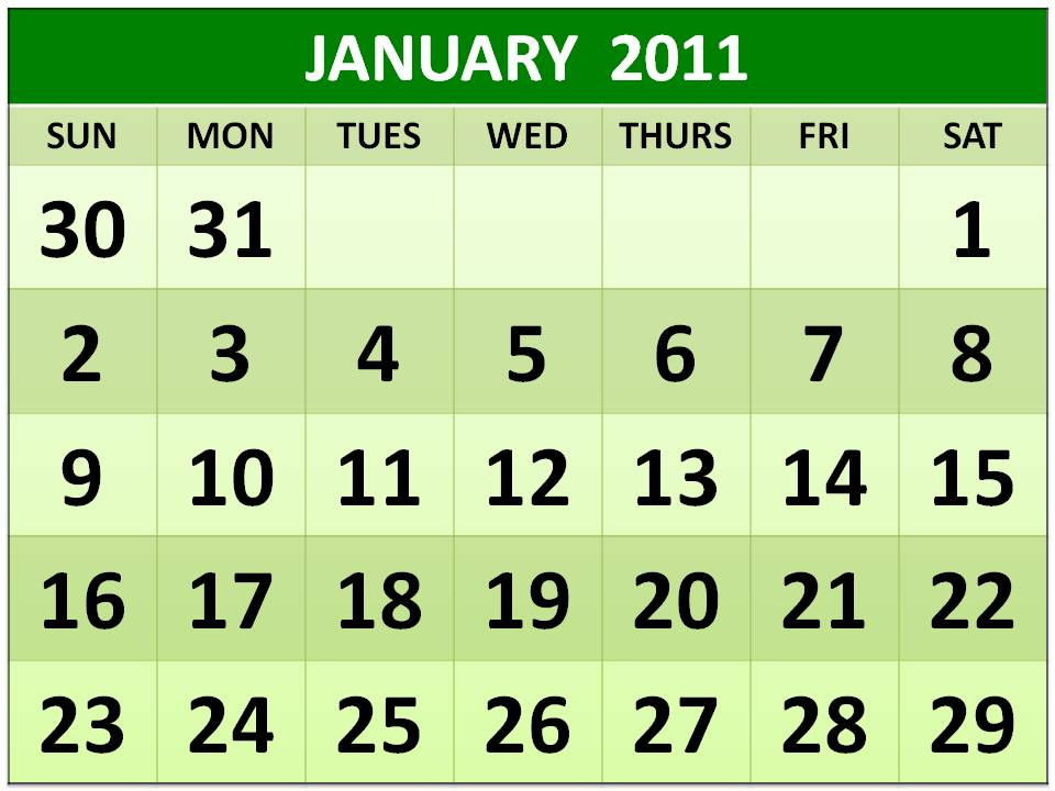 2011 calendar. January 2011 calendar is