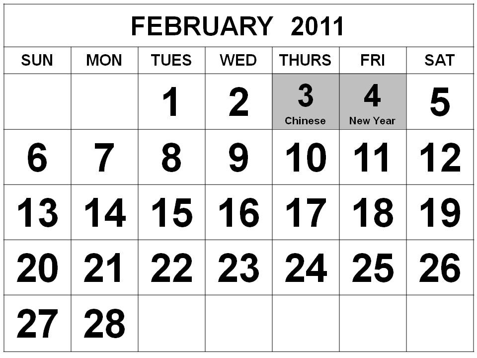 Big Singapore 2011 February Calendar with Holidays (PH)