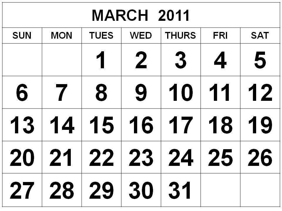 Printable 2011 Calendar Uk. Free Printable March 2011