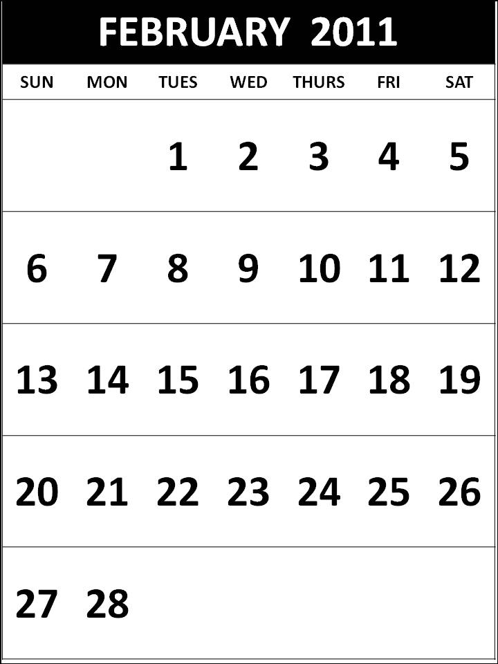 printable february calendar 2011. Free Homemade Calendar 2011