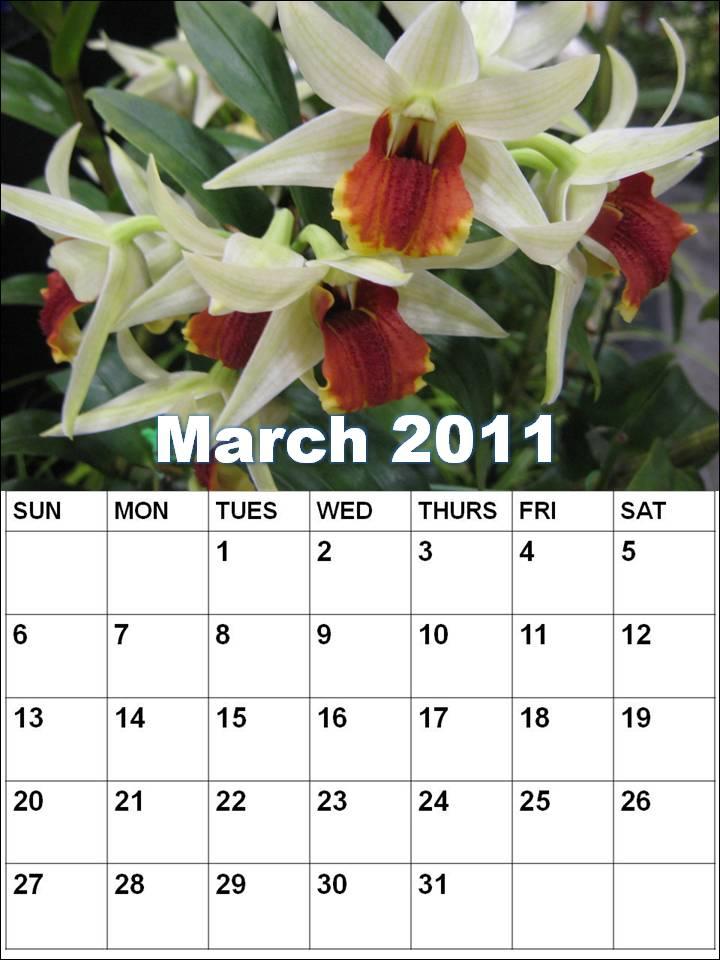 calendar for 2011 march. Blank Calendar 2011 March or