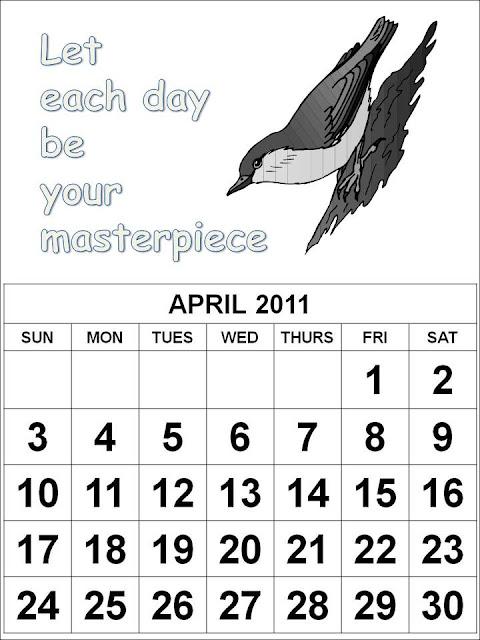 calendar 2011 canada printable. April 2011 Calendar Canada