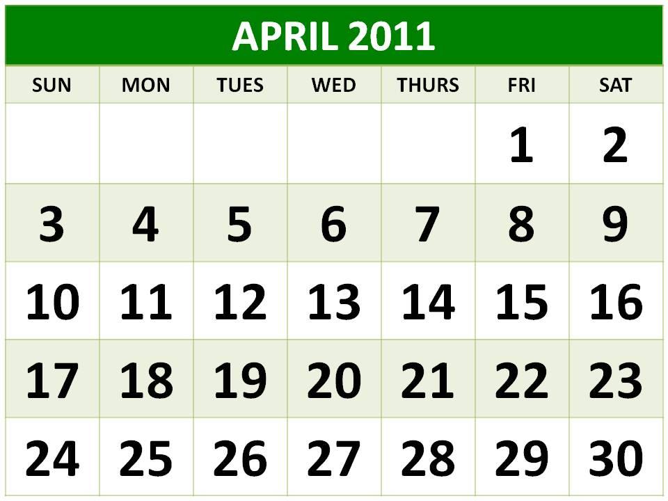 april 2011 printable calendar. printable calendar 2014 4 per