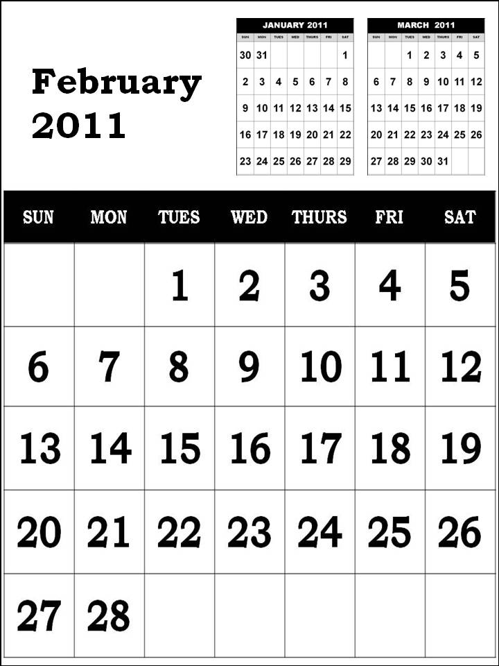 monthly calendar 2011 february. is the monthly calendar