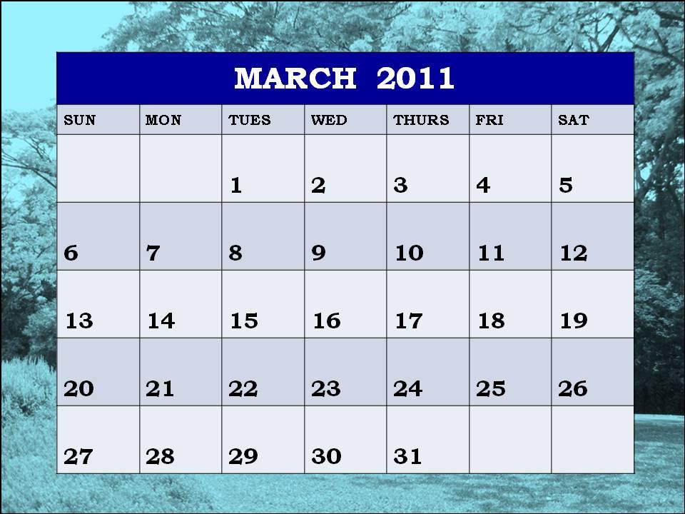 calendar template march 2011. MARCH 2011 CALENDAR TEMPLATE