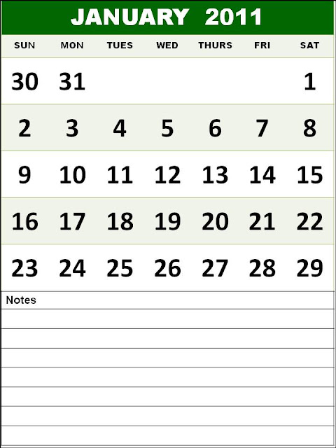 calendar january 2011. Free Monthly Calendar 2011