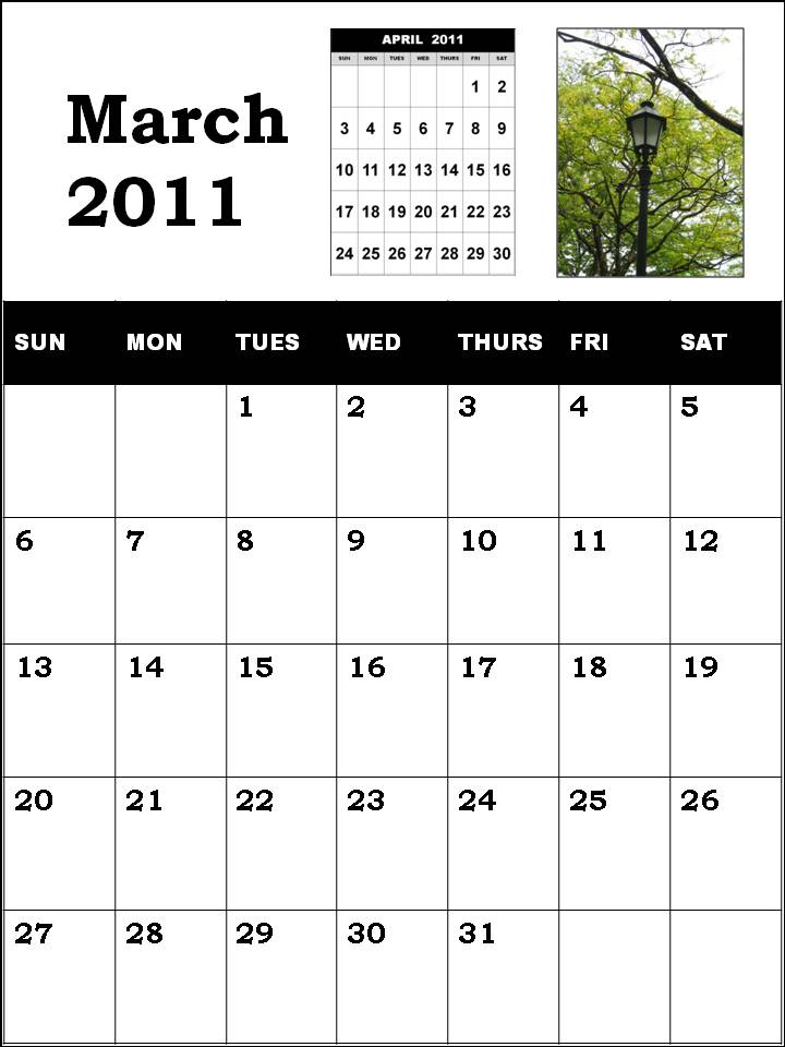 printable calendars for march 2011. BLANK CALENDAR OF MARCH 2011