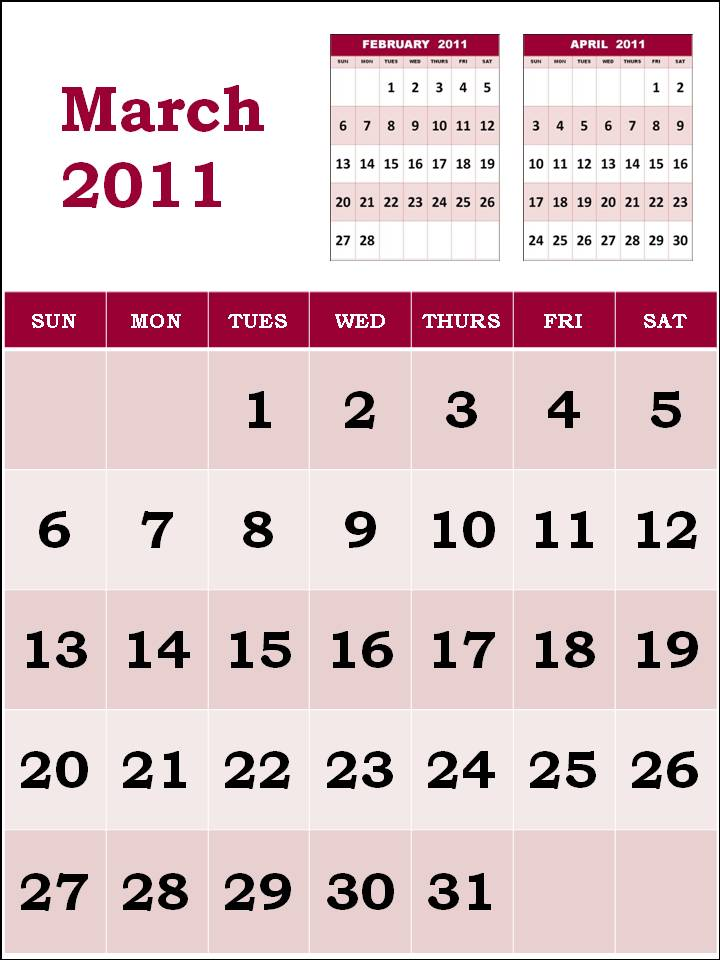 printable calendars for march 2011. printable calendars