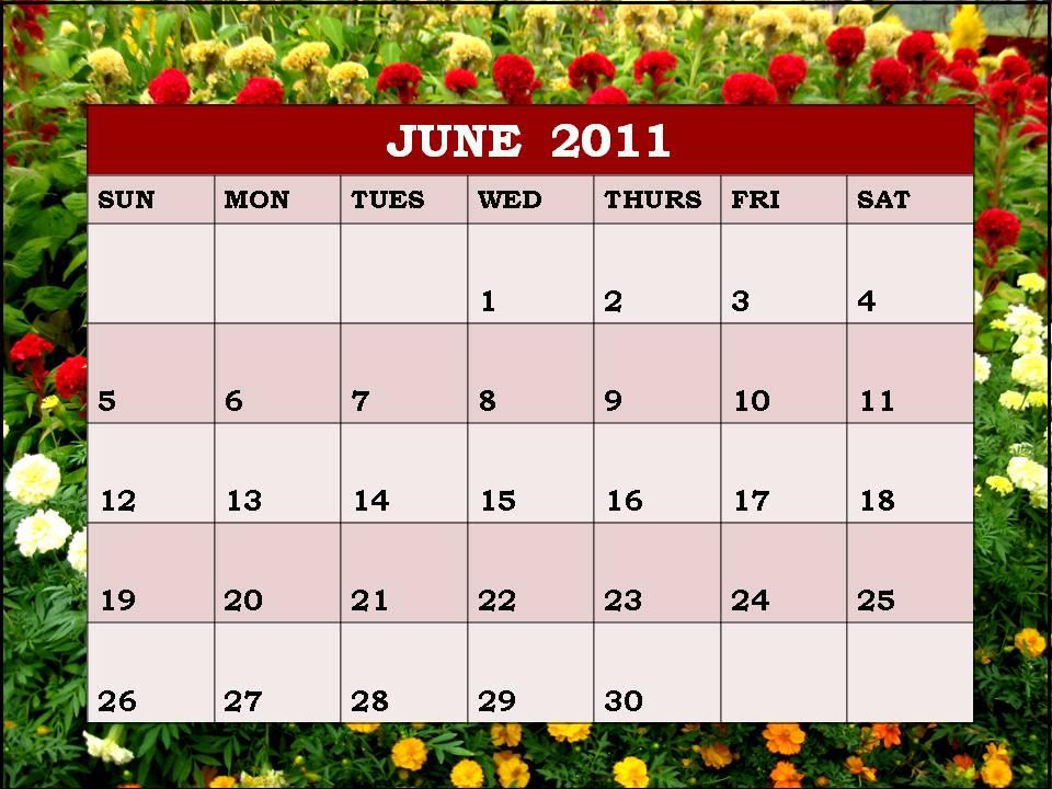 2011 Calendar By Month. month of june calendar 2011.