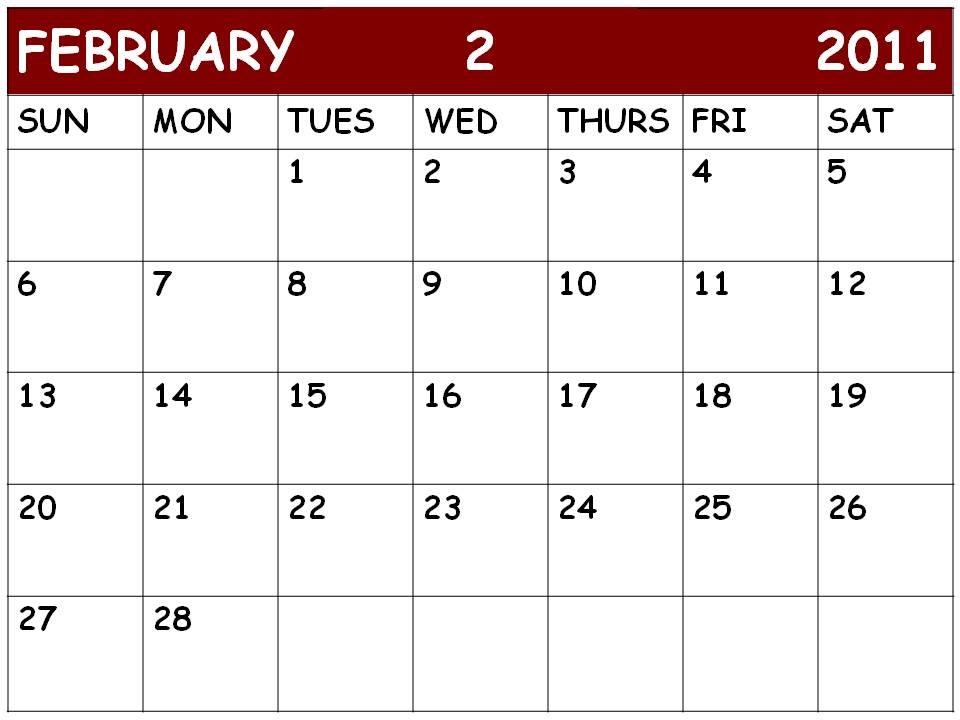 monthly calendar 2011 february. MONTHLY CALENDAR FEBRUARY 2011