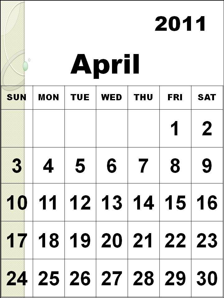 april 2011 calendar with holidays printable. printable april 2011 calendar