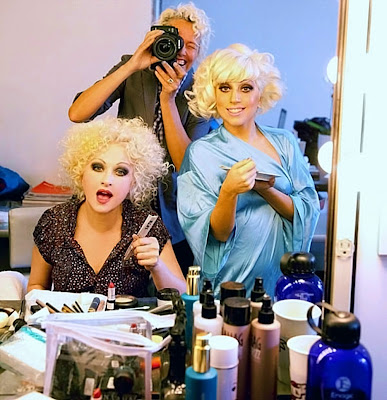 lady gaga photoshoot. Cyndi Lauper and Lady Gaga