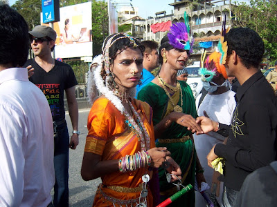Colorful trans marchers in the Queer Azadi March Gay Parade in Mumbai, ...