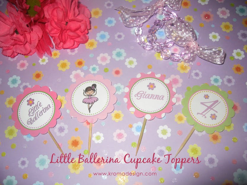 Little Ballerina Cupcake Toppers Tags