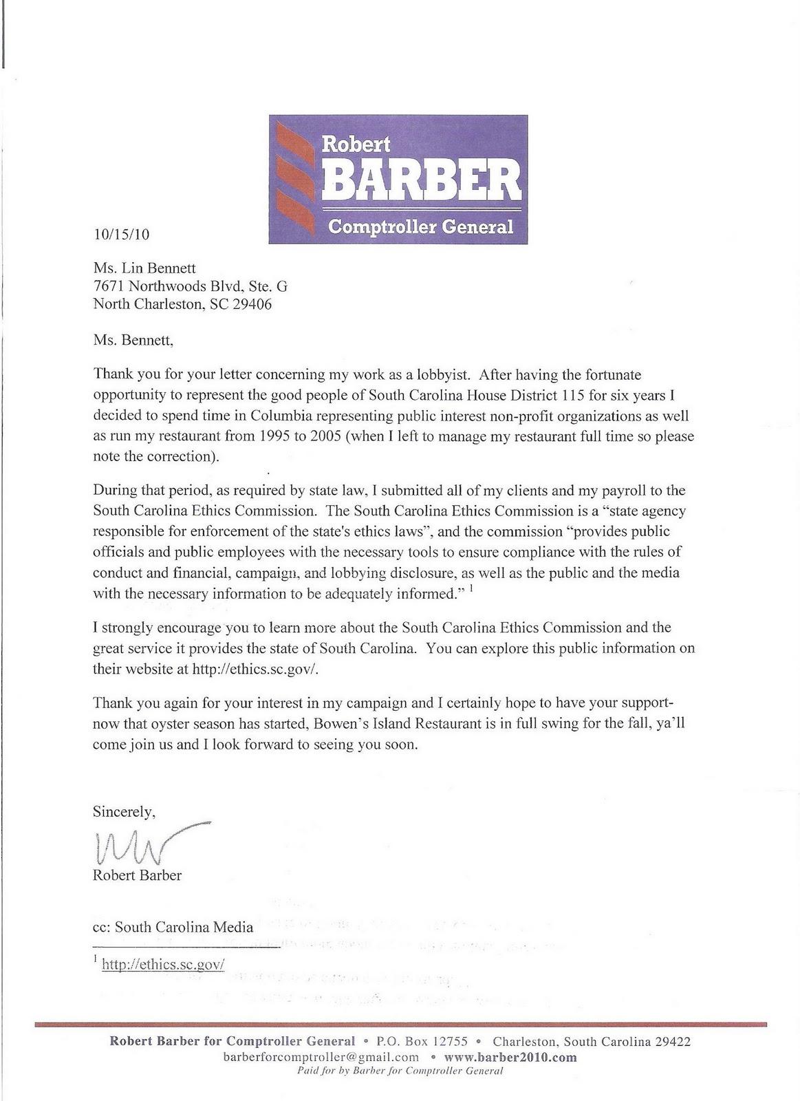 Blogland Of Earl Capps Robert Barber Dodges Lobbying