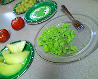 St. Pat's breakfast - green eggs, grapes, honeydew