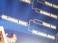A huge bracket on the arena's side. Thrilling to see my team advance!