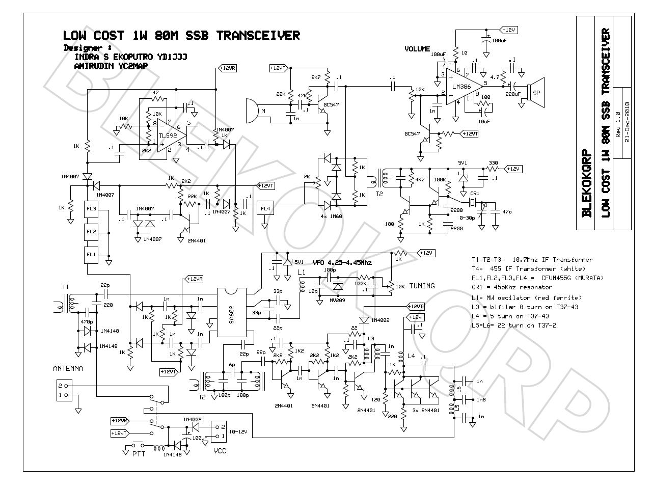 Blekok Qrp By Yd1jjj Simple 1w 80m Ssb Transceiver Prototype