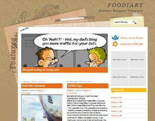 Foodiary - Free Blogger Template suitable for scrapbooking - 2 columns, right sidebar, fixed width, brown, orange, socia; bookmarking, 3 column footer, scrapbooking theme, personal blog