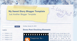 My Sweet Diary - Free Blogger Template - 2 columns, right sidebar, fixed width, blue and white, online diary, personal blog