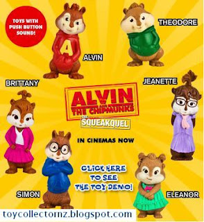 McDonalds Alvin and the Chipmunks Happy Meal Toys - New Zealand and Australia release - set of 6 - Alvin, Theodore, Jeanette, Eleanor, Simon and Brittany