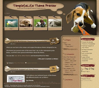 Doggy Love - Free Wordpress Theme - 3 columns, right sidebar, navigation menu, page navigation, RSS, brown, dogs