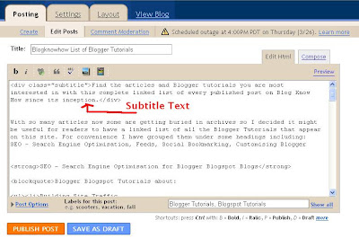 Add a Subtitle to a Blogger Post
