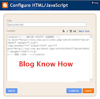 Paste Merchant Code of your banner ad into Configure HTML/Javascript content box
