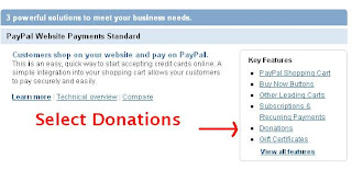 Select Donations from Paypal Merchant Services page to Add to Blogger