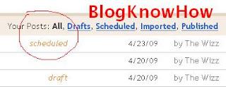 Blogger identifies posts as scheduled in Edit Posts list