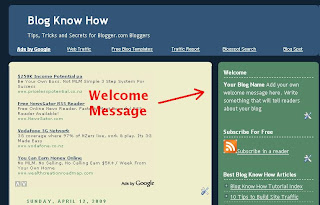 Welcome Message Added to Blogger