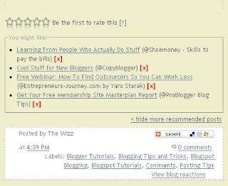 Outbrain Ratings Widget as it appears at the bottom of a Blogger post
