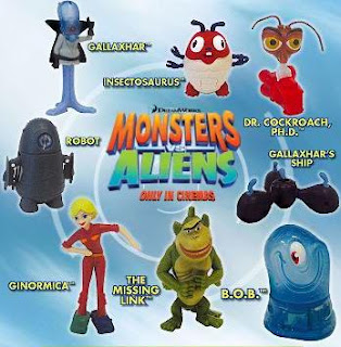 McDonalds Monsters vs Aliens Happy Meal Toys 2009 - Set of 8 Toys