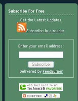 Email Subscription Form as seen in a Blogger Blogspot blog