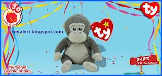 McDonalds Ty Beanie Babies 2009 toys - Pops the Gorilla