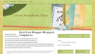 Green Scrapbook Diary - Best Free Blogger Blogspot Templates - scrapbooking, craft, art, personal blogs, 3 column widgetized sidebar, navigation menu
