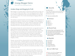 Grungy - Free Blogger Template - Free Blogspot Template - 2 column, banner ads 2 slots, fixed width, pre-installed recent posts and recent comments widgets, light blue and white