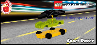 McDonalds Lego Racer Happy Meal Toys - 2009 - Sport Racer toy - 3 piece body snaps together
