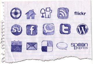 Free Social Bookmark Icon Set - Hand Drawn Doodle -14 icon set - Suitable for Bloggers