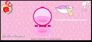McDonalds Barbie Toys 2009 Promotion - Lip Gloss Compact showing detail inside toy