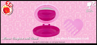 McDonalds Barbie Toys 2009 Promotion - Mirror Compact and Comb - showing detail inside toy