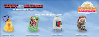Burger King toys - Cloudy with a Chance of Meatballs 2009 - The Foodster, Gelatin Jump, Monkey Talk, Snowball Catch