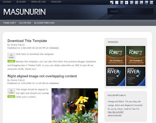 Free Blogger Template Masunurin - 2 columns, white, rss link, subscribe link, search box, fixed width, navigation menu, social bookmarking buttons, twitter tweet button, twitter updates widget, video section, ads ready