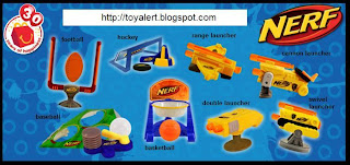 McDonalds Nerf Toys 2009 - Set of 8 toys - Baseball, Football, Hockey, Basketball, Double Launcher, Cannon Launcher, Swivel Launcher, Range Launcher