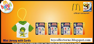 McDonalds FIFA World Cup South Africa 2010 - 8 McDonalds Happy Meal Toys - Mini Jersey with Cards