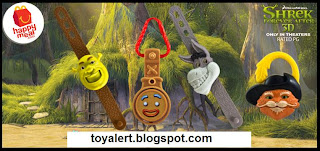 McDonalds Shrek Forever After Watches - Shrek, Donkey, Gingy and Puss in Boots Watches