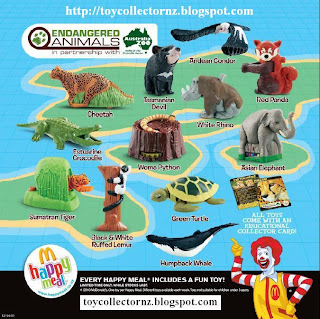McDonalds Endangered Animals Happy Meal Toys 2010 - Set of 12 - Australia and New Zealand release