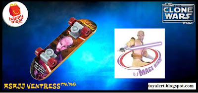 McDonalds Star Wars - The Clone Wars Happy Meal Toys 2010 - Asajj Ventress Mini Skateboard or Fingerboard