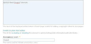 Setting Up Drupal Site Information - Footer