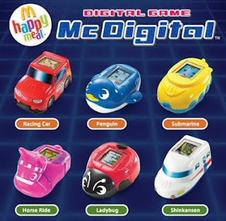 McDonalds McDigital Happy Meal Toys - racing car, penguin, submarine, horse ride, ladybug, shinkansen